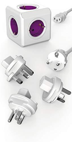 Dr. Bott Travel-Cube ReWirable Original, Power-Würfel mit 5 Steckdosen, Mehrfach-Steckdose mit Schuko-Kabel und Reise-Adapter für UK USA AUS, Magenta-weiß