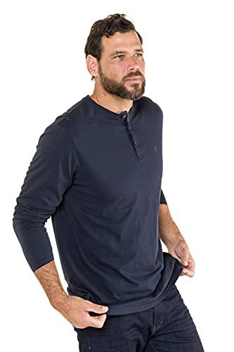 bis 8XL, Langarm-Shirt, Henley, Knopfleiste, Rundhalsausschnitt, Navy 3XL 702555 76-3XL