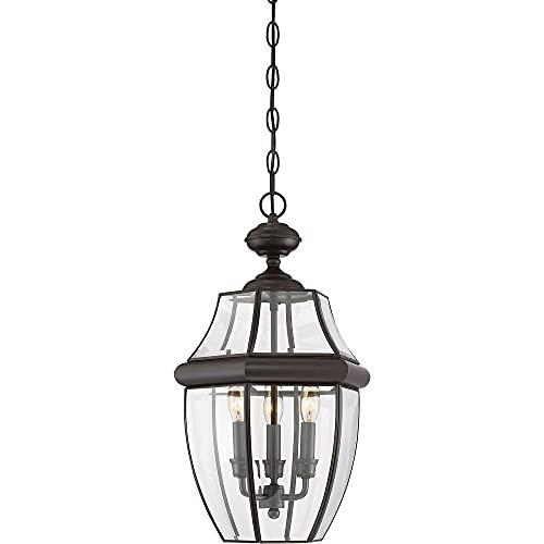 "Quoizel NY1179Z Newbury Outdoor Pendant Lantern Ceiling Lighting, 3-Light, 180 Watts, Medici Bronze (21""H x 13""W)"