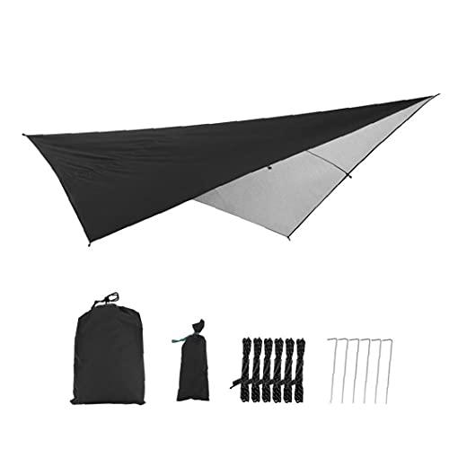 Liadance Camping-Zelt Plane wasserdichte Nylon Tarp Shelter Uv-Schutz Leichtes Ripstop Für Outdoor Hammock Wandern Schwarz Sliver