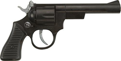 J.G.Schrödel 4019151 Junior: Spielzeugpistole für Zündplättchen, Ideal für das Cowboy- oder Polizeikostüm, 100 Schuss, 21 cm, schwarz (401 9151)
