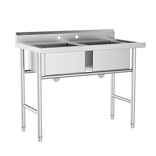 Bonnlo Commercial 304 Stainless Steel Sink 2 Compartment Free Standing Utility Sink for Garage, Restaurant, Kitchen, Laundry Room, Outdoor, 35.8