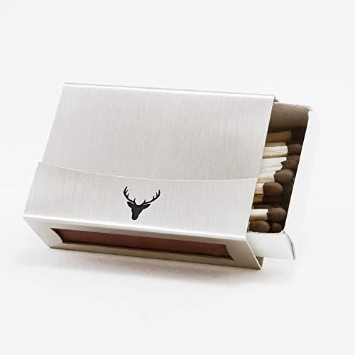 Streichholzschachtel-Hülle aus Edelstahl mit Hirsch