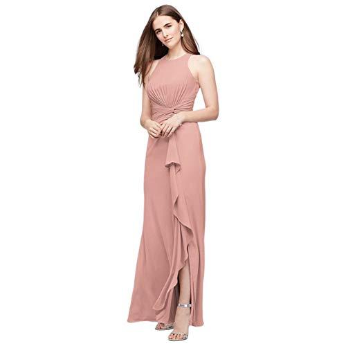High-Neck Bridesmaid Dress with Cascade Twist Style F19992, Ballet, 20