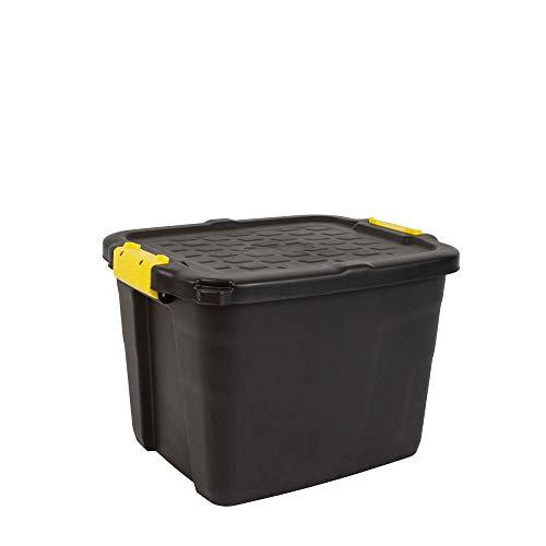 CEP HW443 Strata Aufbewahrungsbox hohe Belastbarkeit 42L, Plastik, Schwarz/Gelb, 50 x 40 x 35 cm