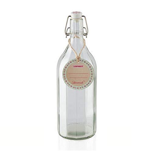 Leifheit Flasche Facette 1000ml, Einmachflasche mit rostfreiem Bügelverschluss, Glasflasche ideal für Selbstgemachtes, Öle und Essig, Likörflasche, Bügelflasche, spülmaschinengeeignet, made in germany