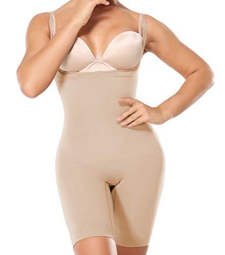 MISS MOLY Body Reductor Shapewear Bodysuit Faja Reductora Body Shaper Abdomen Cintura Lencería Moldeadora Cómodo y Ligero Corsé Bustier sin Costuras (#1 Beige, L)