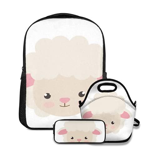 Conjunto de mochila escolar,Bebé Lindo Ovejita Animal Personaje Dibujo Adorable Dibujos Animados Clip Alegre,con bolsa de almuerzo y estuche para lápices para mochila para adolescentes