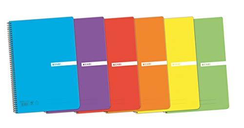 Enri, Cuaderno A4 (Folio), cuadrícula 4x4, tapa plástico, 80 hojas, pack de 5 unidades, colores aleatorios