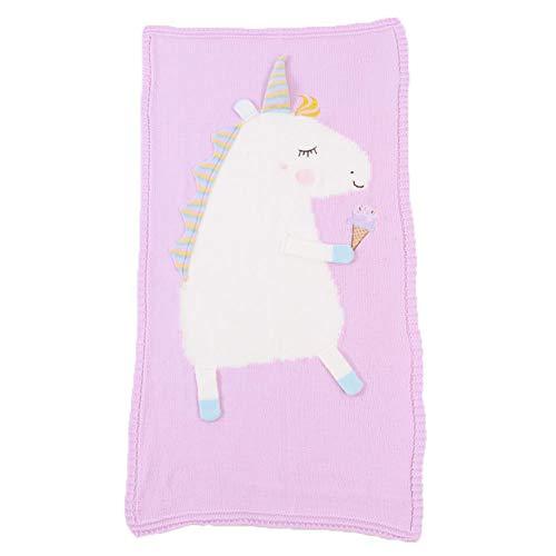 Bonito patrón de punto para bebé, suave, cálido unicornio de punto de ganchillo para niños recién nacidos siesta mantas de ropa de cama de toalla de dormir envoltura rosa rosa Talla:Baby