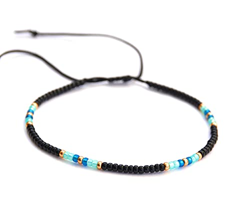 Anklet for Women, Unique Beaded Thin Anklet, Black Gold Colorful Boho Hippie Beach Foot Jewelry, Native American Style, Handmade