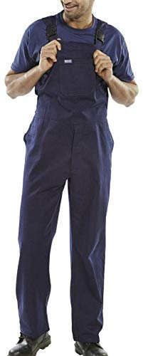 REAL LIFE FASHION LTD. Mens Adult Cotton Drill BIB and Brace Dungarees Adults Workwear Overalls Trouser#(Navy Drill BIB and Brace#34#Unisex)