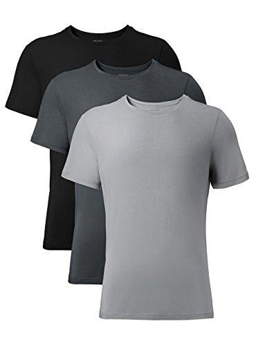 DAVID ARCHY Men's 3 Pack Soft Comfy Bamboo Rayon Undershirts Breathable Crew Neck Tees Short Sleeve T-Shirts (L, Black/Charcoal/Gray)