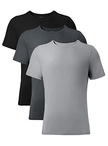 DAVID ARCHY Men's 3 Pack Soft Comfy Bamboo Rayon Undershirts Breathable Crew Neck Tees Short Sleeve T-Shirts (M, Black/Charcoal/Gray)