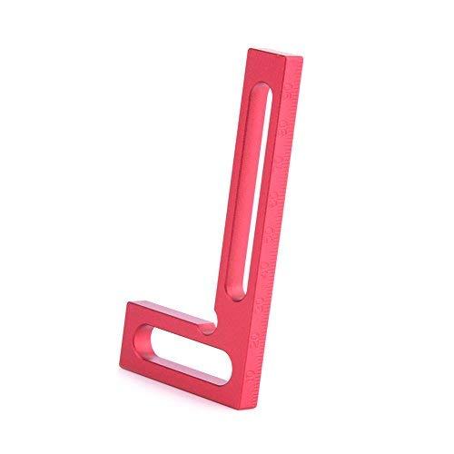 Walfront Regla Cuadrada en L para carpintería de precisión de aleación de Aluminio de 100 mm, Mini morral con sujeción, Cuadrado Rojo de 90 Grados