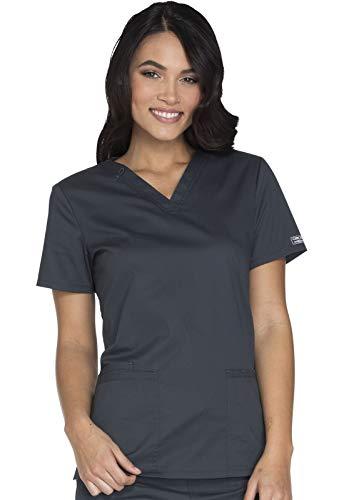 Cherokee Workwear Core Stretch V-Neck Scrub Top, XS, Pewter
