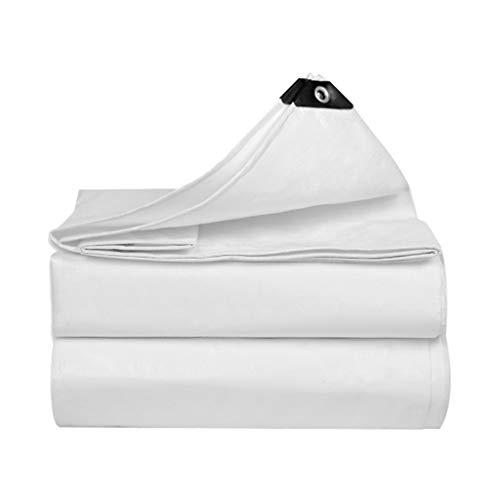 JINGKE PE Polyethylene Tarp Tarpaulin Cover, Waterproof, UV Resistant, Rot, Rip and Tear Proof Tarpaulin, Protecting Car (White, Multi-size, with Rope),4mx5m