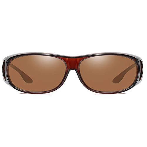 DKEE Gafas de Sol Material De PC Antideslumbrante UV400 Gafas De Sol con Estampado De Leopardo/Marco Marrón Lentes Y Lentes En Color Marrón con Las Mismas Gafas De Sol Polarizadas De Conducción