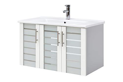 Schildmeyer Waschtisch Niko 701434, silber glanz-weiß, 85,0/45,5/52,5 cm