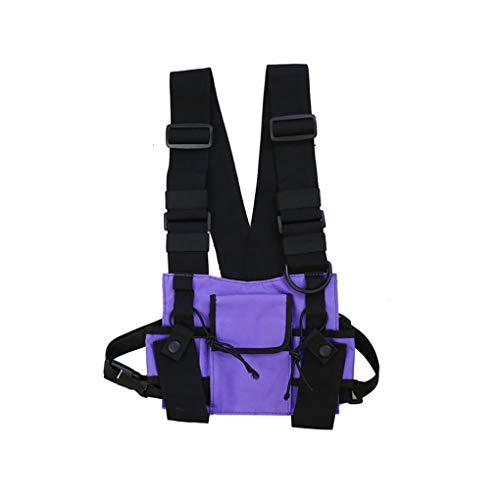 CAVIVI Men Tactical Vest Umhängetaschen Chest Rig Bag Hip Hop Verstellbare Taschen Cross Shoulder Bag Funktionelle Hüfttaschen,lila