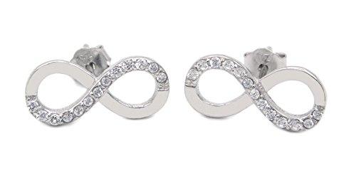 Ohrstecker Infinity 925 Sterling Silber rhodiniert 26 Zirkonia Eternity Unendlich Damen nickelfrei