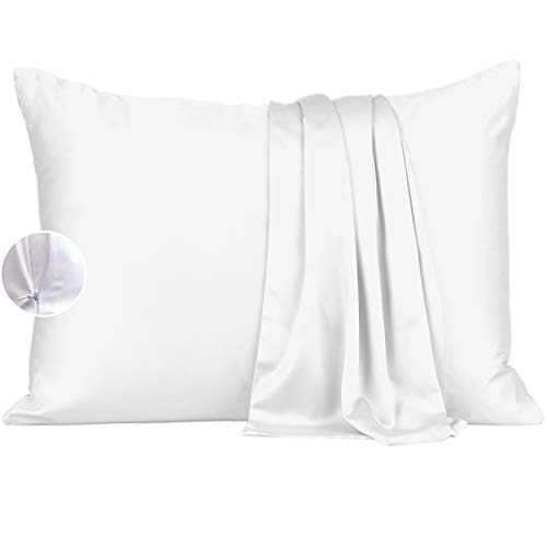 Bamboo Silk Pillowcase - King Size Pillow Cases Set of 2 with Zipper, White Cooling Pillow Cases