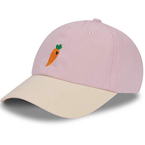 LIVACASA Cap Jungen Sonnenschtz Basecap Mädchen Verstellbar Kappe Kinder Gestickt Muster Kindercap Snapback Schildkappe Sommer 49-54 cm Rosa