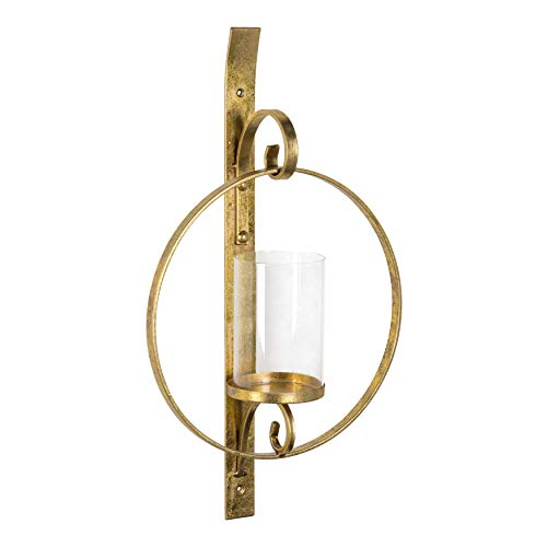 Kate and Laurel Doria Metal Wall Candle Holder Sconce, Gold