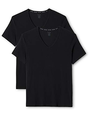 Calvin Klein Herren T-Shirt 2P S/S V NECK, Gr. Medium, Schwarz (BLACK 001)