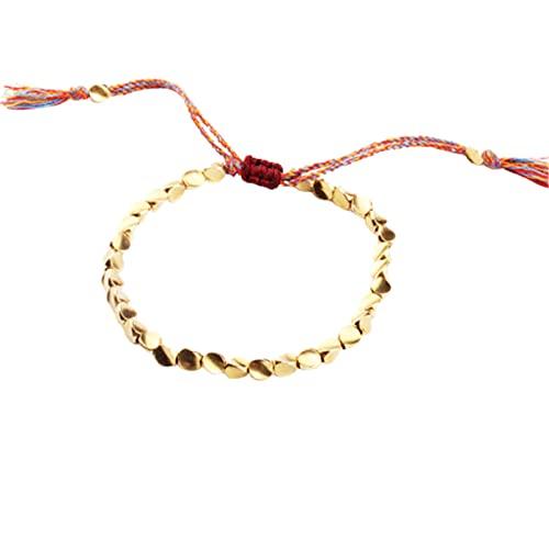 Aoten Pulsera de cuentas de cobre tibetano hecha a mano, pulsera trenzada ajustable de colores, unisex.