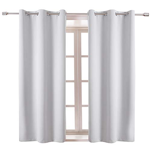 WONTEX Blackout Curtains Room Darkening Thermal Insulated with Grommet Window Curtain for Living Room, 38 x 54 inch, Greyish White, 2 Panels