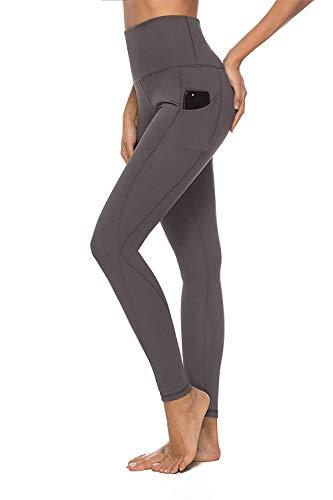 YOUCHAN Leggings Damen Lang Sporthose Laufhose Tights mit Taschen Hohe Taille Blickdichte für Sport Yoga-GRAU-XS