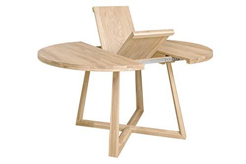 Nordic store eettafel, uittrekbaar, rond, met gekruiste voeten, massief eikenhout, modern design Nordic of Scandinavisch voor de woonkamer, 4-8 personen, 120-160 x 120 x 75 cm. 120-160 x 120 x 75 cm. Gebleekte eik