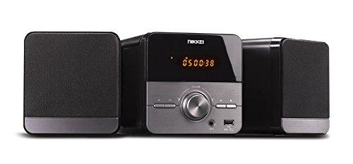 Nikkei NMC306 - Micro Radio met CD-speler, Hifi System CD-speler met MP3, USB, AUX-in, 5Watt, afstandsbediening, grijs/zwart
