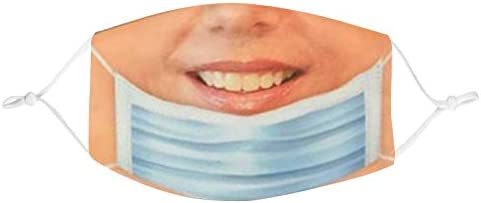 US Stock Click Image to Open expanded View Funny Face Mask Pulled Down Prank Smile for Women product image