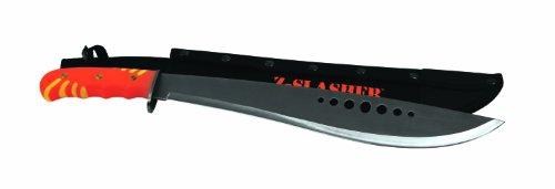 "Texsport31912 Zombie Slasher Machete Knife with Sheath, Orange/Black, 15"" Tempered Steel Blade"