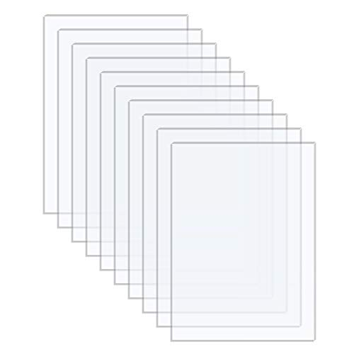 Langaelex 10 Pieces 8'' x 10'' x 0.043'' (1.1mm Thick) Acrylic Sheets Clear Plexiglass for Photo Frame Glass Replacement, Projects Display, Painting (8 inch x 10 inch)