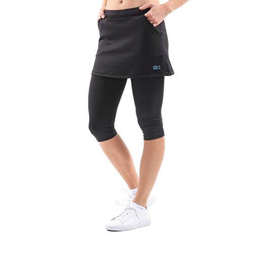 Sportkind Mädchen & Damen Tennis, Running, Yoga 2-in-1 Rock mit Leggings & Taschen, Skapri, schwarz, Gr. XXL