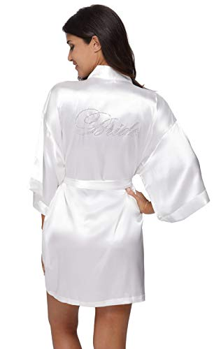 The Bund Women's Pure Colour Short Kimono Robes for Bride White Robe S Size