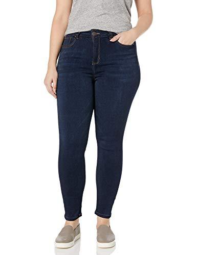 Celebrity Pink Jeans Women's Plus Size Super Soft Mid Rise Skinny Jeans, Queen Dark, 16W