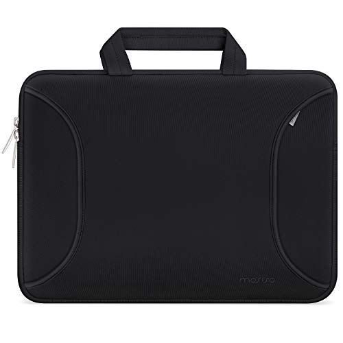 MOSISO Laptop Sleeve Case Protective Bag Compatible with 13-13.3 inch MacBook Pro, MacBook Air, Notebook Ultrabook Chromebook Computer, Water Repellent Neoprene Briefcase Cover Carrying Handbag, Black