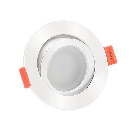 LUXVENUM®   1x dimmbare, ultra flache (25mm) LED Einbau-Strahler   6W statt 70W   230V   2700 Kelvin   Runde Leuchtdiode aus matt-weißem Aluminium   1er Set Forma warmweiß 2700K