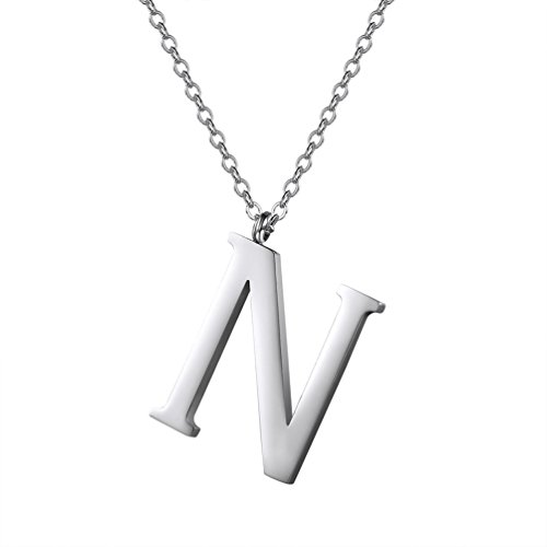 PROSTEEL Necklace Simple Pendant Charms Letter N Chain Free Closure Carabiner Jewelry Set for Woman Girl