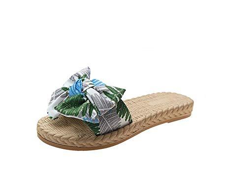 QTTC Zapatos De Mujer Sliper Verano Floral Sandalias De Playa Plataforma De Cuña Tangas Zapatillas ChanclasGreen-36