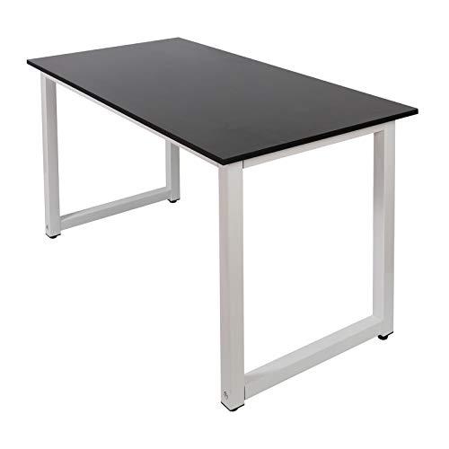 Biurko 120 x 60 x 70 cm czarne MDF i żelazo z regulowanymi nóżkami stołu