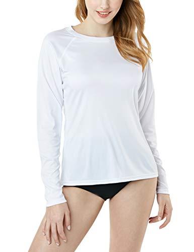 TSLA Fss04 - Camiseta de manga larga para mujer, protección contra rayos UV y el sol, talla S, color blanco