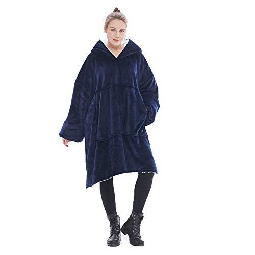 KPII Manta Mujer De Sudadera con Capucha, Mantas Super Soft Warm Sweatshirt, Hoodie para Hombre y Mujer,Navy Blue,One Size