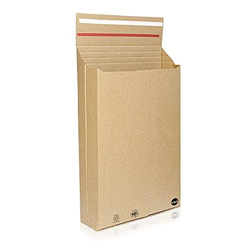 Múltiples Posibilidades Caja sobre bolsa de cartón Kraft para envíos, adaptable y resistente |31,3x25,1x7| Pack 25 | envíos postales y ecommerce gracias a su forma de sobre con cierre autoadhesivo.