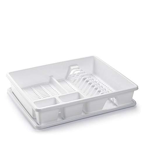 Acan Plastic Forte - Escurreplatos de Plástico 48 x 38 x 9, Organizador de Cocina, Escurridor con Bandeja para Cocina…… (Blanco)
