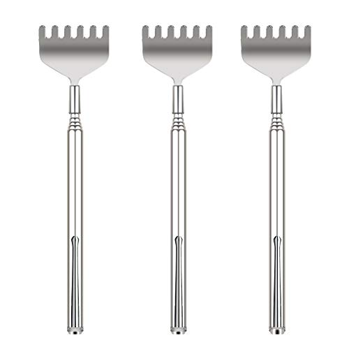 Extendable Back Scratcher for Men - YIMICOO 3 Pack Portable Telescopic Metal Back Scratchers/Hand Massager with Pocket Clip for Thanksgiving, Birthday, Christmas Gifts
